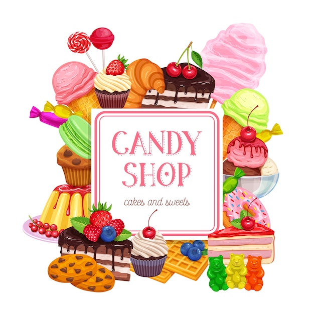 Confectionery and sweets banner Premium Vector