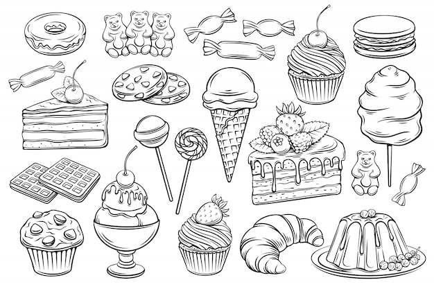Confectionery and sweets icons Premium Vector