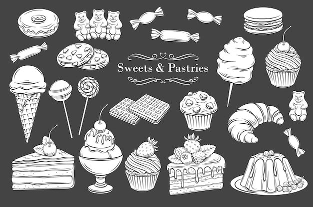 Confectionery and sweets isolated glyph icons. Premium Vector