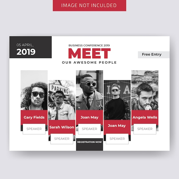 Conferance horizontal business flyer template Premium Vector