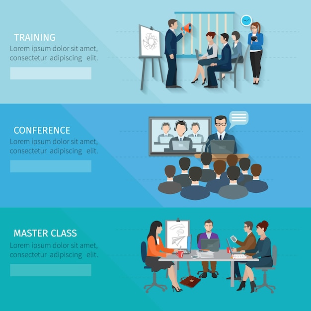 Conference banner set Free Vector