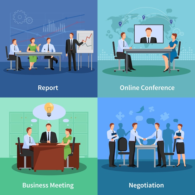 Conference concept icons set Free Vector