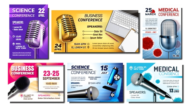 Conference creative advertising posters set Premium Vector