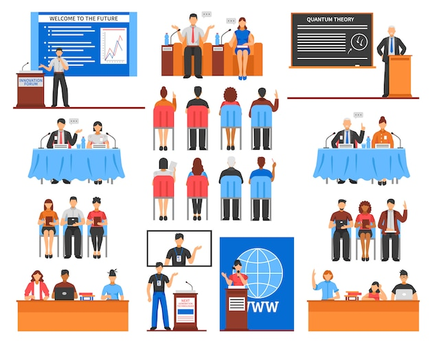 Conference elements set Free Vector