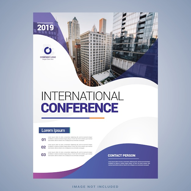 Conference flyer template Premium Vector