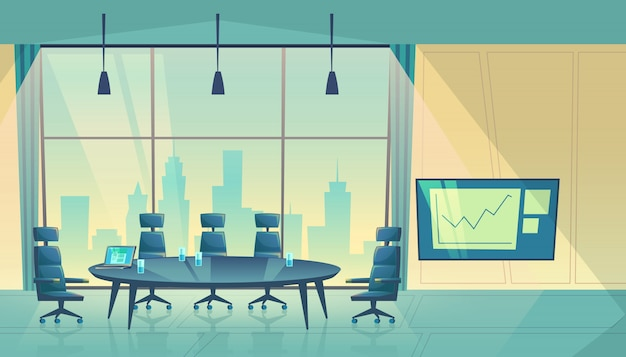 Conference hall for business seminar, working process. room for shareholders in skyscraper Free Vector