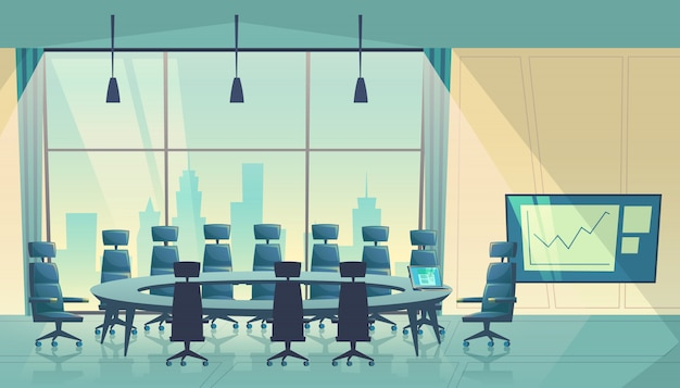 Conference hall for meeting, board of directors. business boardroom, working process. Free Vector