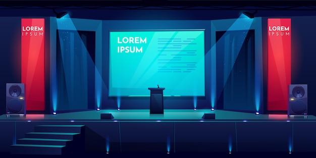Конференц-зал, сцена для презентации, сцена Бесплатные векторы