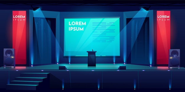 Conference hall, stage for presentation, scene Free Vector