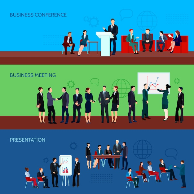 Conference horizontal banners Free Vector