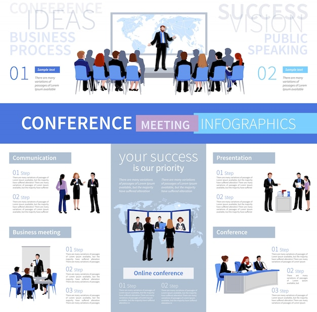 Conference meeting people infographics template with different types of negotiation Free Vector