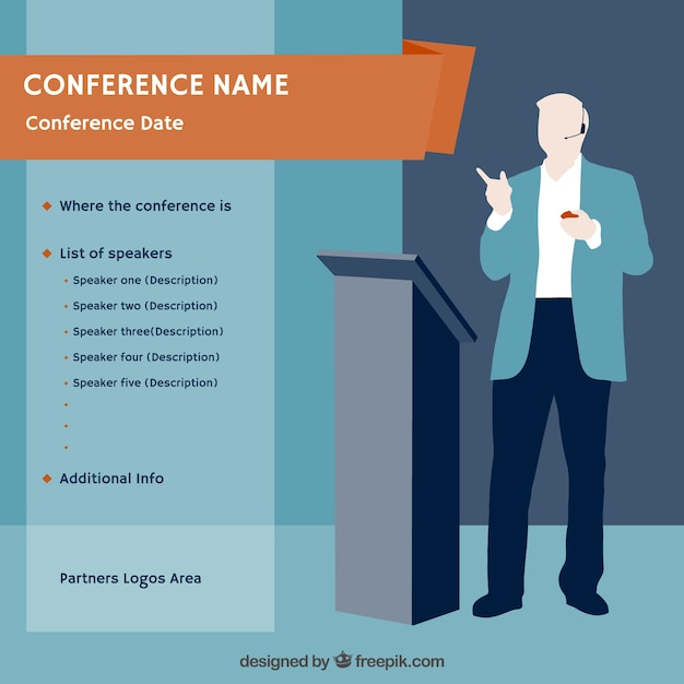 Conference poster template Vector | Free Download