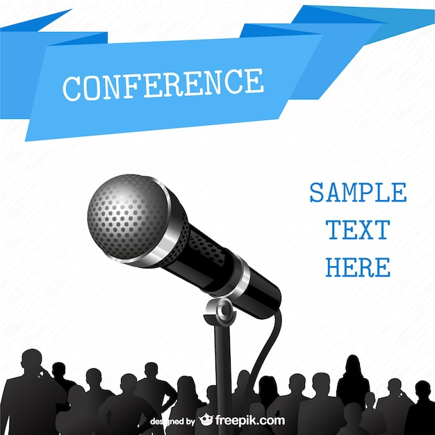 conference poster with a microphone vector | free download, Powerpoint templates