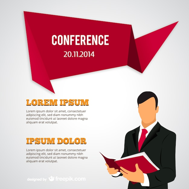 conference poster with businessman vector | free download, Powerpoint templates