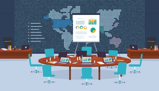 Conference room company for business negotiations. Premium Vector