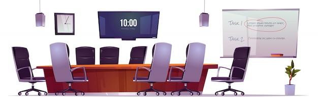 会社のオフィスでのビジネス会議、トレーニング、プレゼンテーションのための会議室。 無料ベクター