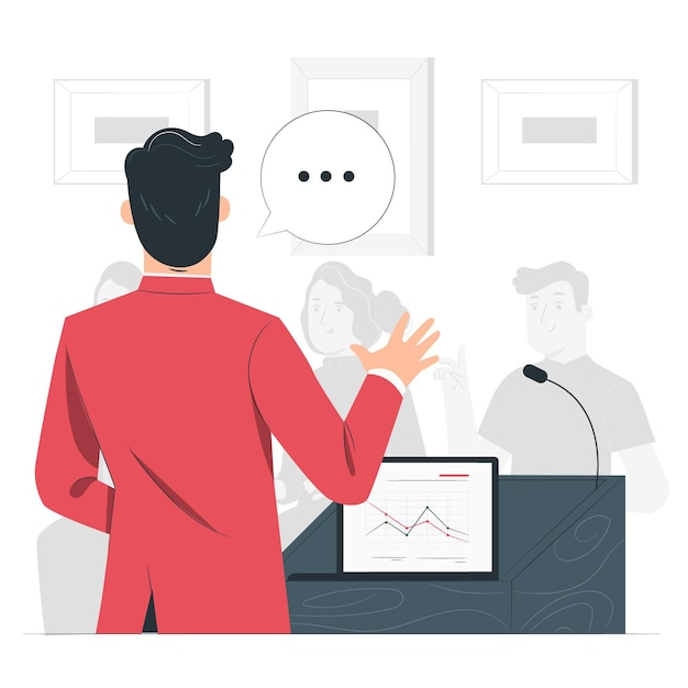 Conference speaker concept illustration Free Vector