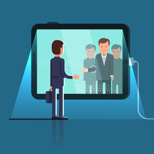 Conference video call via huge tablet computer Free Vector