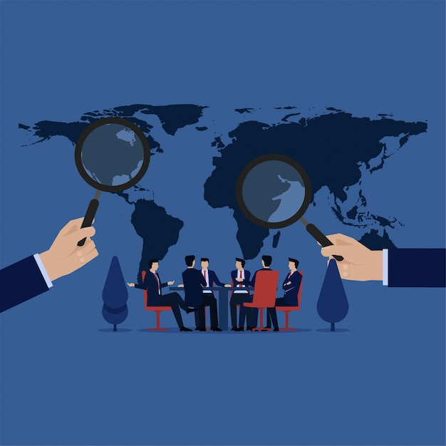 Conference of world leader search problem around world. Premium Vector