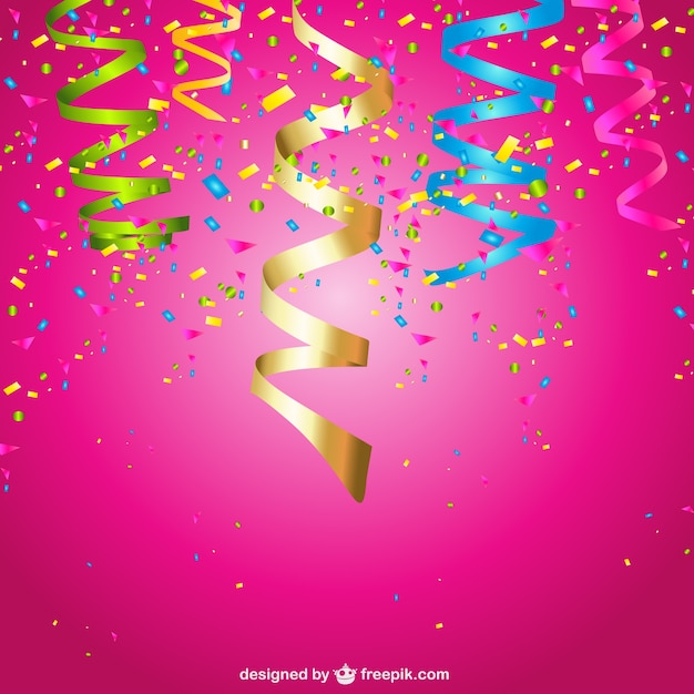 Confetti And Curling Stream Party Background Free Vector
