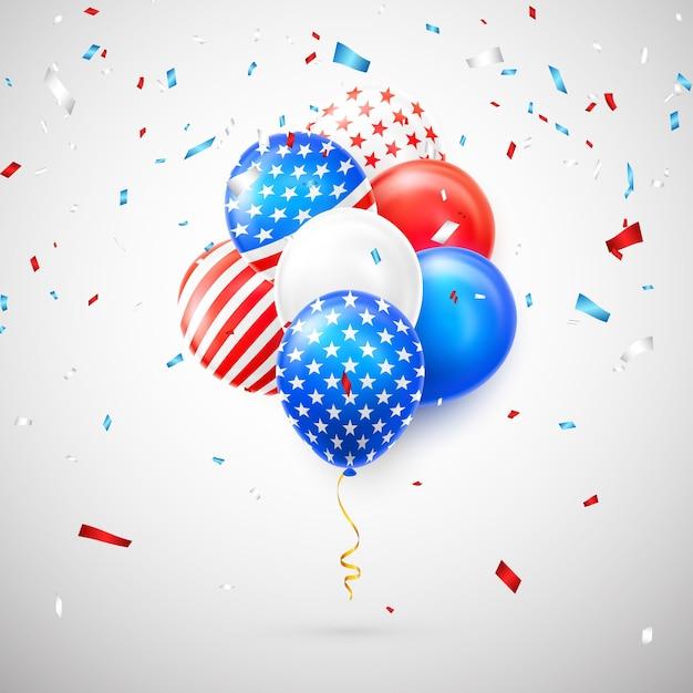 アメリカの国旗の分離と紙吹雪とヘリウム気球 Premiumベクター