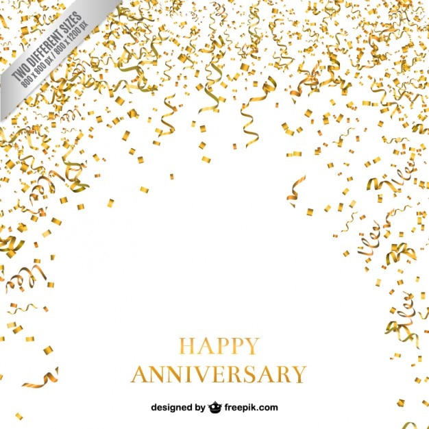 Confetti and serpentine anniversary background Free Vector