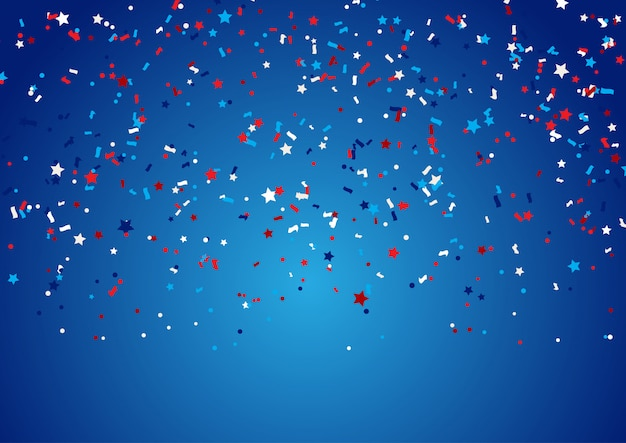 Confetti background for 4th july holiday Free Vector