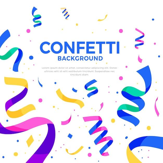 Confetti background in flat design Free Vector