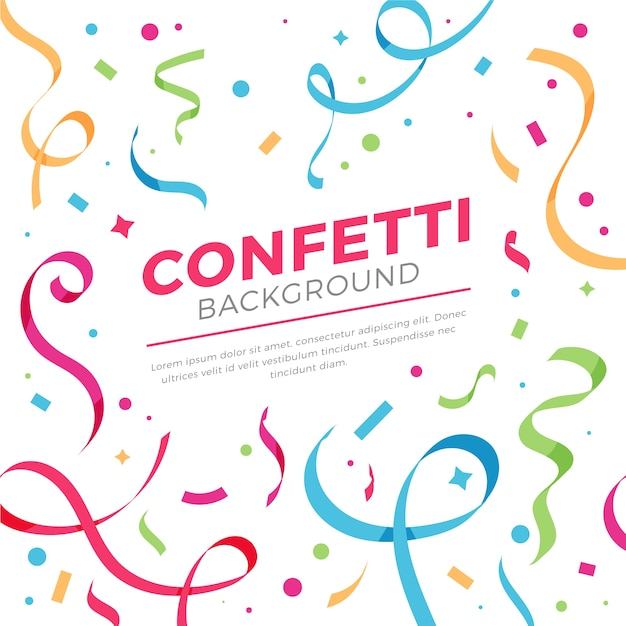 Confetti background in flat design Free Vector