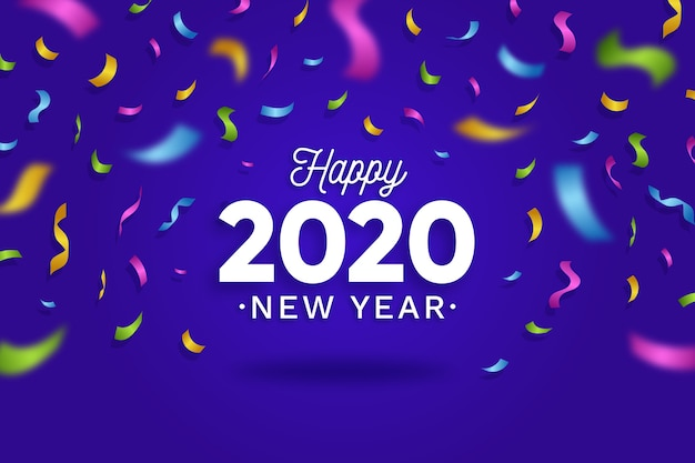 Confetti background new year 2020 Free Vector