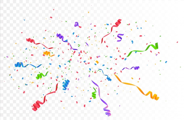 Confetti burst explosion. color flying ribbons and streamers. Premium Vector