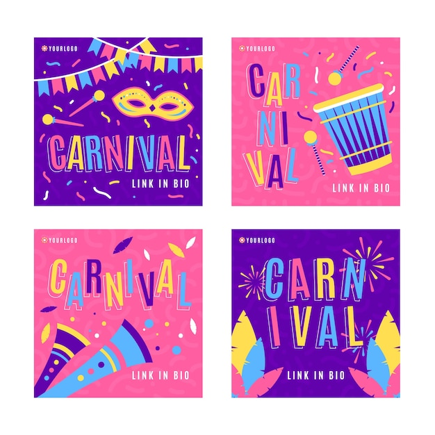 Confetti and fireworks carnival instagram post collection Free Vector