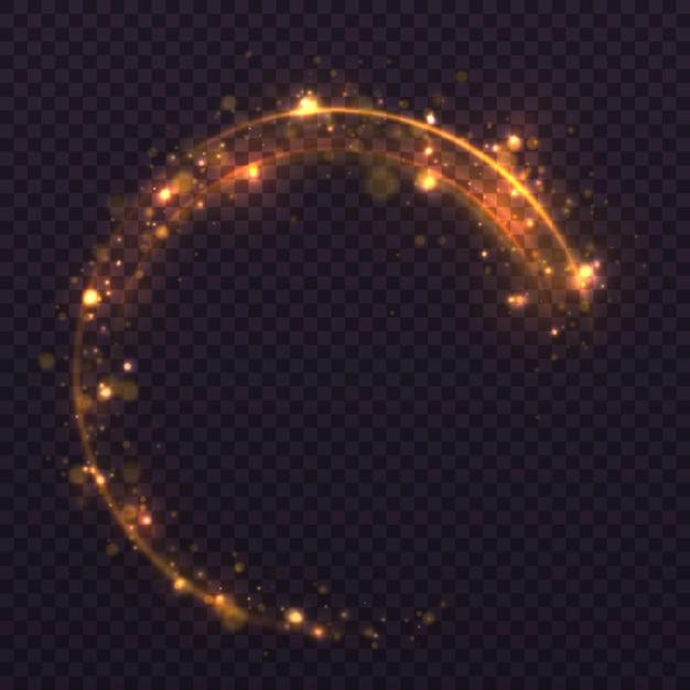 紙吹雪のきらびやかな波。黄砂黄色の火花と金色の星が特別な光で輝いています。 Premiumベクター