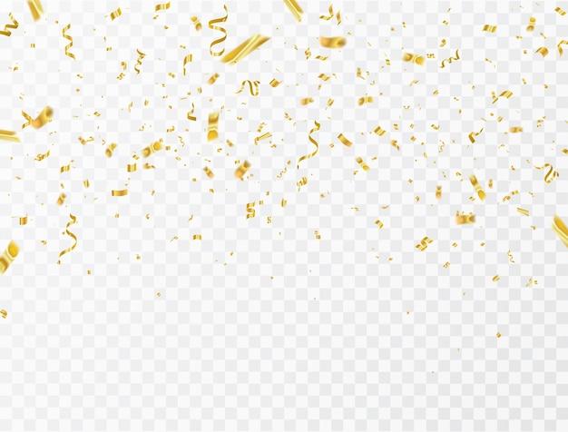 Confetti and gold ribbons. Premium Vector