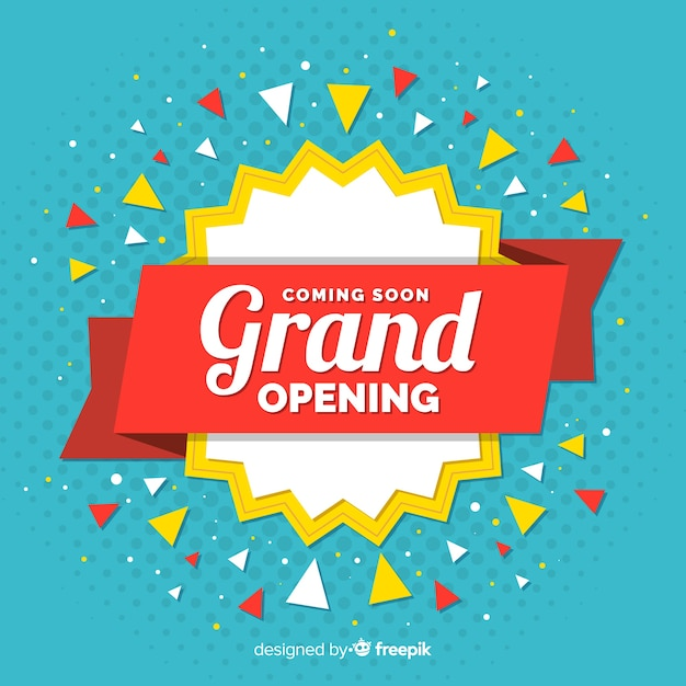 Confetti grand opening background Free Vector