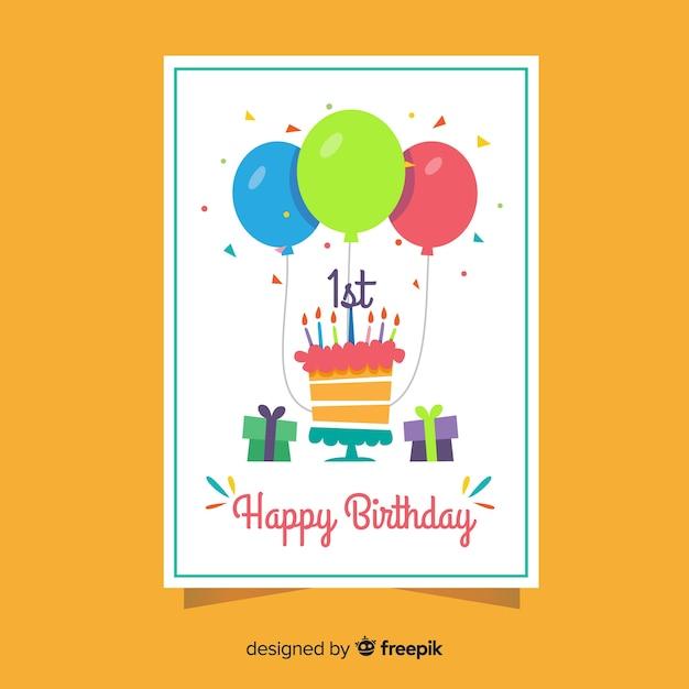Confetti greetingと最初の誕生日ケーキ 無料ベクター