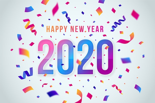Confetti new year 2020 background Free Vector