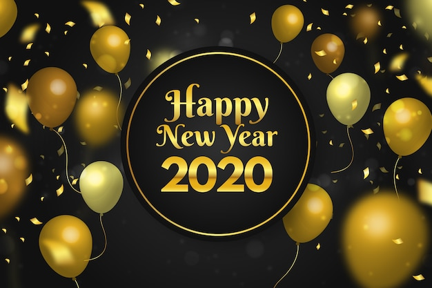 Confetti new year 2020 background | Free Vector