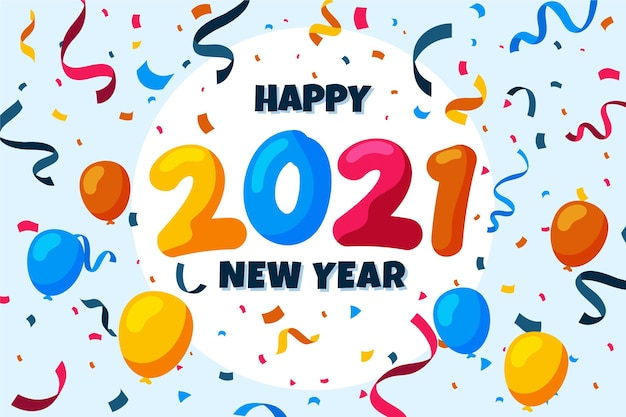 Confetti new year 2021 background Free Vector