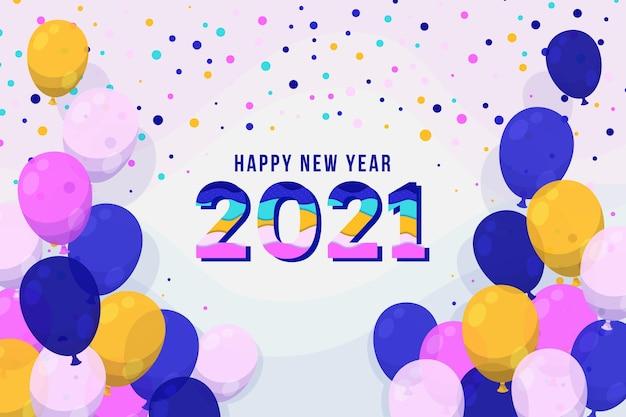 Sfondo di coriandoli nuovo anno 2021 Vettore gratuito