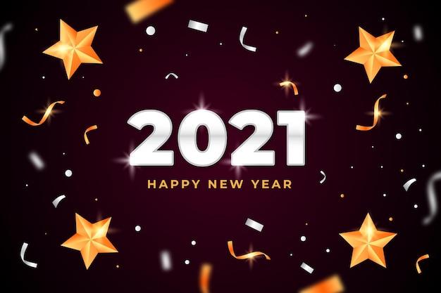 紙吹雪新年2021背景 Premiumベクター