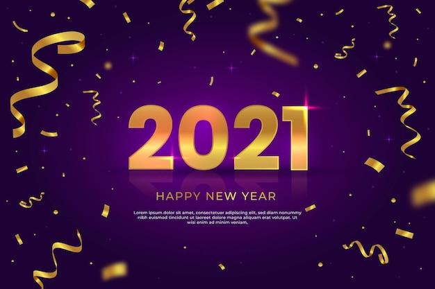 Конфетти новый год 2021 фон Бесплатные векторы