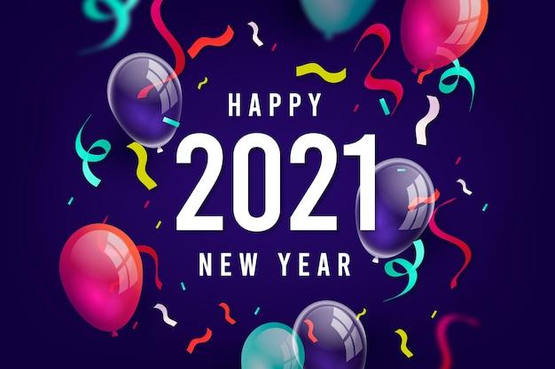 紙吹雪新年2021背景 無料ベクター