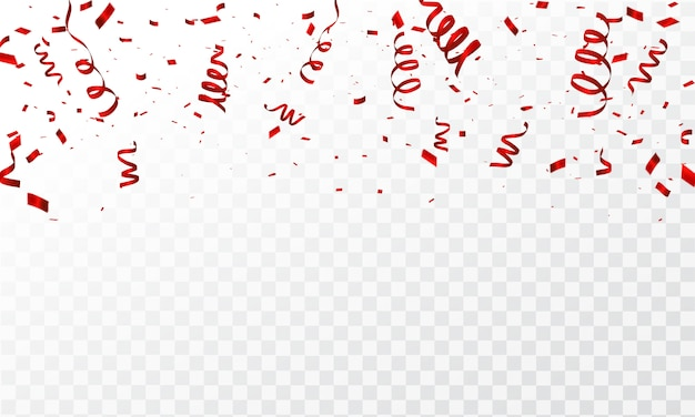 Confetti and red ribbons. Premium Vector
