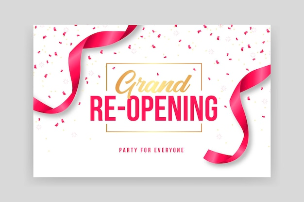 Confetti and ribbons grand re-opening banner template Premium Vector