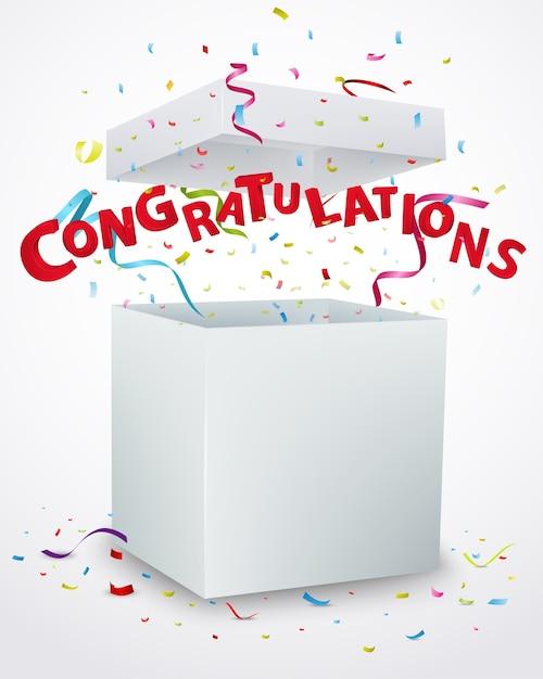Confettiとお祝いメッセージボックス Premiumベクター