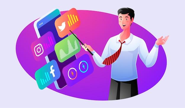 Confidence expert provides social media data analysis Premium Vector