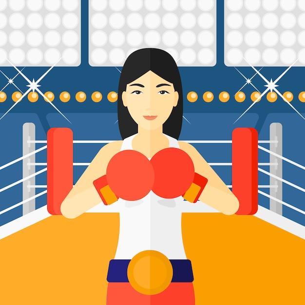 Confident boxer in gloves Premium Vector