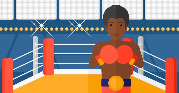 Confident boxer in gloves Premium Vector