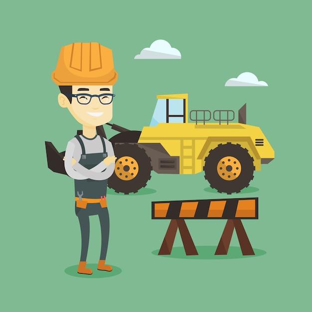 Confident builder with arms crossed. Premium Vector